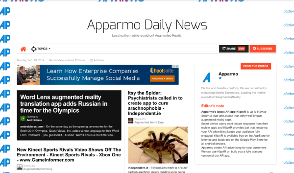 front page AR News Apparmo feb 14